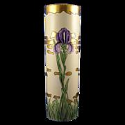 SALE Moritz Zdekauer (MZ) Austria Arts & Crafts Iris Motif Vase (Signed/c.1884-1909)