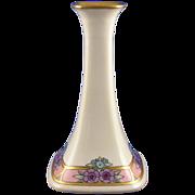 "SALE Porcelain Limousine (PL) Limoges Arts & Crafts Floral Motif Candlestick (Signed ""R."