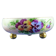 SALE Stouffer Studios T&V Limoges Pansy Motif Footed Bowl (c.1906-1914)