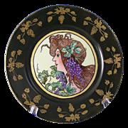 """SALE Gerard, Dufraisseix & Abbot (GDA) Limoges Art Nouveau """"Mucha Grape Woman"""" Motif"""