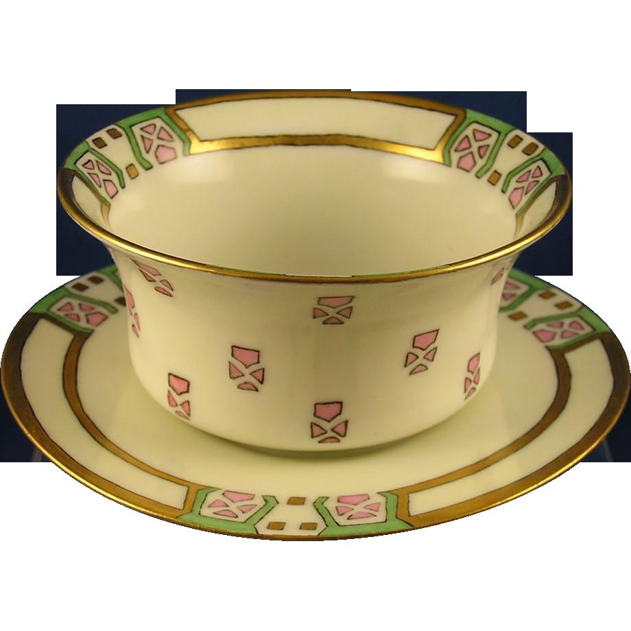 PH Leonard Art Deco Ramekin/Dish & Plate Set (c.1890-1908)