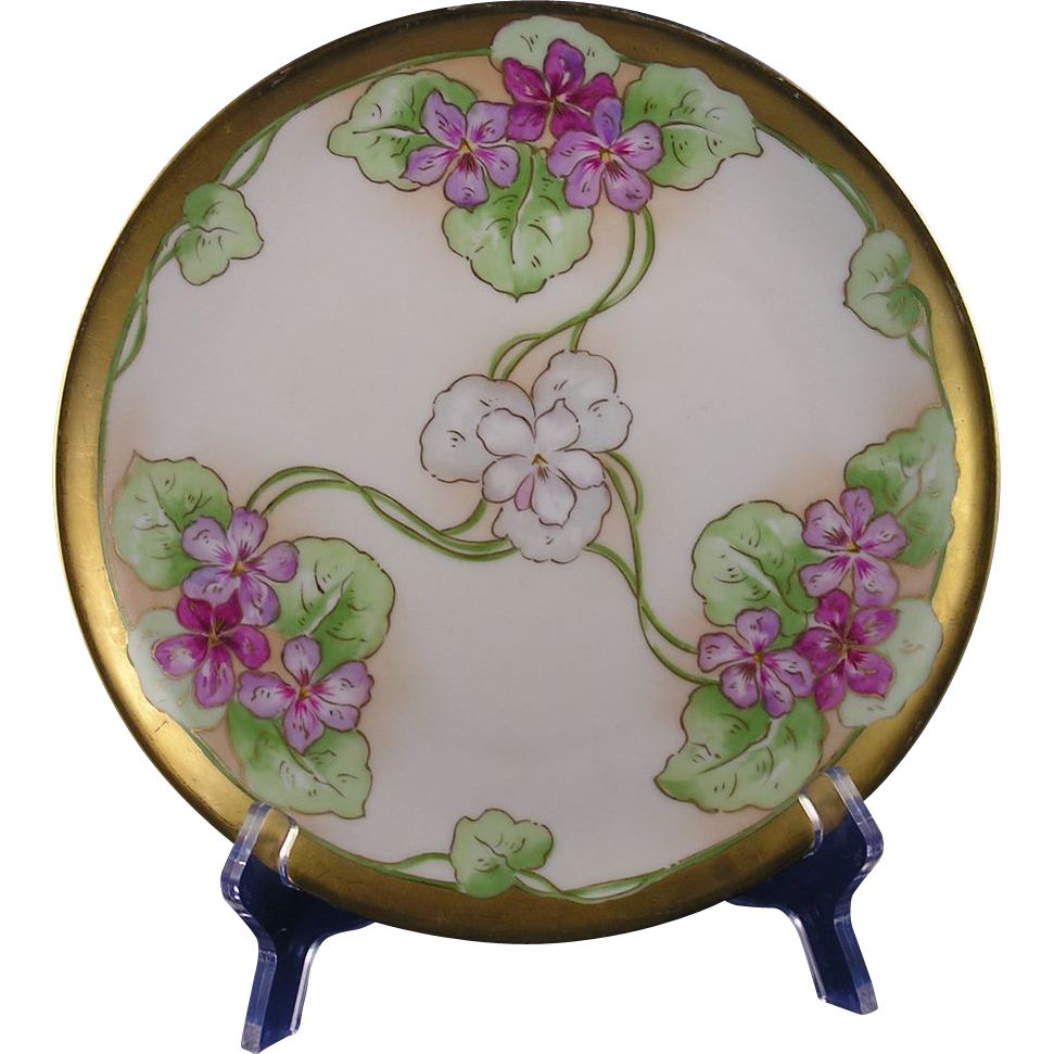 limoges mark 6 art nouveau violet motif plate. Black Bedroom Furniture Sets. Home Design Ideas