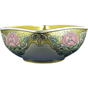 "SALE American Satsuma Arts & Crafts Rose Motif Bowl (Signed ""M. Held""/Dated 1918)"