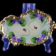 SALE Jean Pouyat (JP) Limoges White's Art Co. Violet Motif Serving/Pin Dish (Signed ...