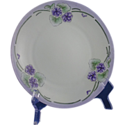 """SALE Hermann Ohme Silesia Arts & Crafts Violets Design Plate (Signed """"A.E. Sager""""/c."""