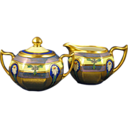 "SALE Zeh, Scherzer & Co. Bavaria Pickard Studios ""Encrusted Linear"" Creamer & Sugar"