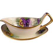 SALE RS Germany Tillowitz Pansy Motif Serving Dish & Plate (c.1904-1938)