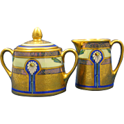 "SALE Zeh Scherzer (ZS&Co.) Bavaria Pickard ""Encrusted Linear"" Design Creamer & Sugar"