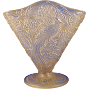 SALE Consolidated Glass Co. Yellow Wash Bird of Paradise Design Fan Vase (c. 1920's)