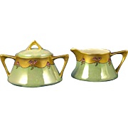 SALE Zeh Scherzer & Co. (ZS&Co.) Bavaria Arts & Crafts Rose & Lustre Design Creamer & Sugar Se