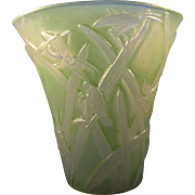 SALE Consolidated Glass Co. Green Wash Martele Katydid Design Vase (c.1920s)