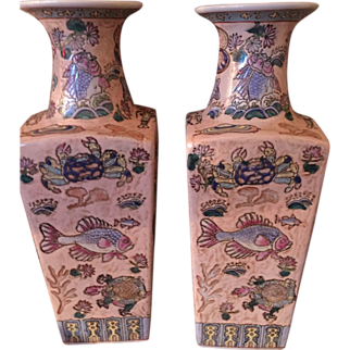 """SALE Pr of Exquisite Vintage Chinese Vases in Excellent Condition. 15"""" Tall Circa 1949. Stamped in Red on Bottom"""