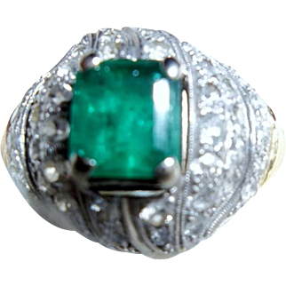 SALE Beautiful Antique Emerald & Diamond 14KT Gold Ring Circa 1910
