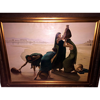 """SALE Vintage Painting of Egyptian Women at the River 40"""" tall by 50"""" wide"""
