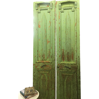 SALE Pr. Antique European Green Entrance or Patio/Garden Doors Very Cottage Chic END OF YEAR CLEARANCE!