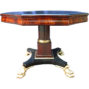 SALE Fabulous Mahogany Empire Style Vintage Round Table Gold Paw Feet---FABULOUS END OF ...