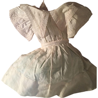 """SALE Adorable Dress for Antique Doll 13"""" long Cream Cotton and French Lace"""