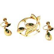 REDUCED Rare Star Art Brooch and Earrings Green Rhinestone 1/20 12K Gold Filled