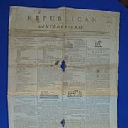 Rare 1802 Baltimore Pro Slavery Newspaper; Republican or Anti-Democrat