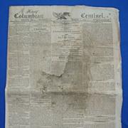 March 7th 1810 Columbian Centinel Newspaper; Napoleon Bonaparte Declares War on the United Sta