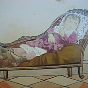 Scarce Salt Print Photo of Post Mortem Girl on Love Sofa