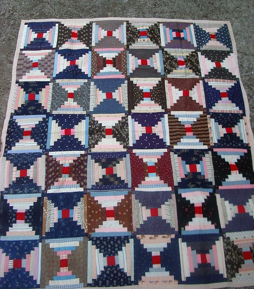 Spectacular C.19th century Log Cabin Quilt from Transylvania County,N.C.
