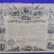 Civil War New Jersey Declaration of Service Document Signed by Marcus Ward Governor