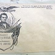 Civil War illustrated Campaign Cover 1860 Stephen Douglas  & Johnson for President