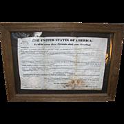 SOLD 1837 Land Grant Revolutionary War hero Andrew Hite Urbanna,Ohio