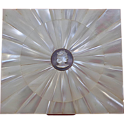 1930's Spectacular Mother of Pearl Business Card Compact