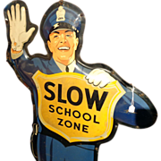 """ Drink Coca-Cola/ Slow School Zone Large Two-Sided Tin Litho Policeman Crossing Guard"