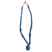 Rare & Beautiful Blue Gem Turquoise Navajo Necklace with a high grade blue gem turquoise