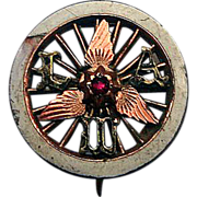 SOLD 1878 Boston Bicycle Club Fraternal Pin with Ruby