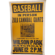 Negro League Baseball Broadside Zula Cannibal Giants