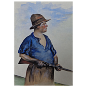 Riveting Watercolor of Country Hunter with Rifle signed & dated Humphries 1925
