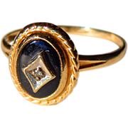 Art Deco Child's 10Kt. Gold Diamond & Black Onyx Ring