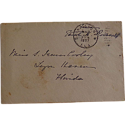 Free Franked Cover & Letter Edith Roosevelt wife of Teddy Roosevelt Lynn Haven,Florida 1937