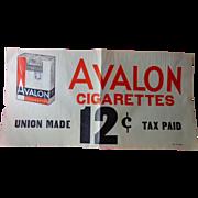 Avalon Cigarette Advertising Store Poster c.1930's