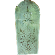 Remarkable etched glass window from 1872 Southern Plantation.