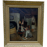 Antique Oil Painting of Children playing with Marionette Doll in the Old Masters Style.
