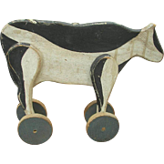 Large Folk Art Painted Wooden Cow Pull Toy c.1890-1900