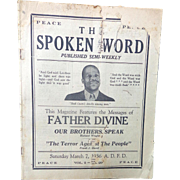 SCARCE Father Devine The Spoken Word Newsletter Harlem,New York 1936