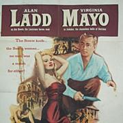 1952 Alan Ladd & Virginia Mayo Movie Poster~Iron Mistress