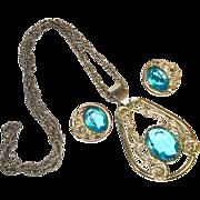 SALE LG Vntg Open Back Blue Topaz Glass Necklace & ERs