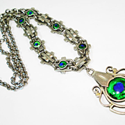SOLD English Arts & Crafts Sterling Silver Peacock Eye Necklace