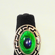 SOLD Arts & Crafts Sterling Silver Foiled Peacock Eye Ring