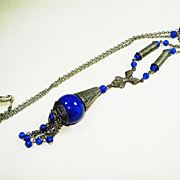 SALE Sterling Art Deco Lapis Glass Lavalier Necklace w Tassel Pendant