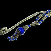 SALE Sterling Art Deco Lapis Glass Lavalier Necklace w Tassel Pendant
