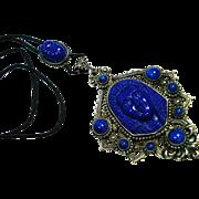 SALE Czech Neiger Egyptian Revival Art Glass Slide Necklace