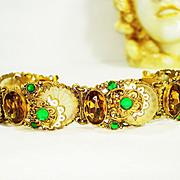 SOLD Ornate Czech Jeweled Enamel Camphor Glass Bracelet SIGNED